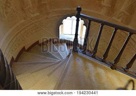 Spiral Staircase In Pena National Palace, Portugal