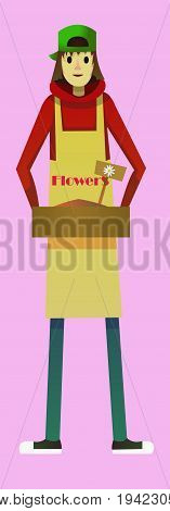 Digital vector kid cartoon simple character delivering flowers worker fast courier, abstract flat style