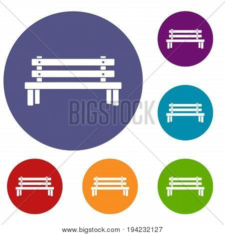 Wooden bench icons set in flat circle reb, blue and green color for web