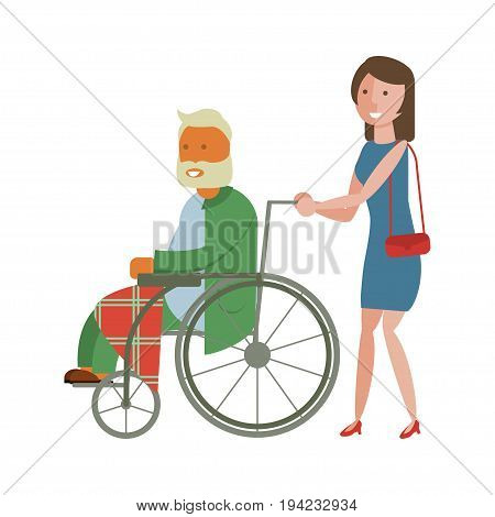 Young woman is strolling with grandpa in wheelchair. Isolated Flat style vector illustration of nursing home care.