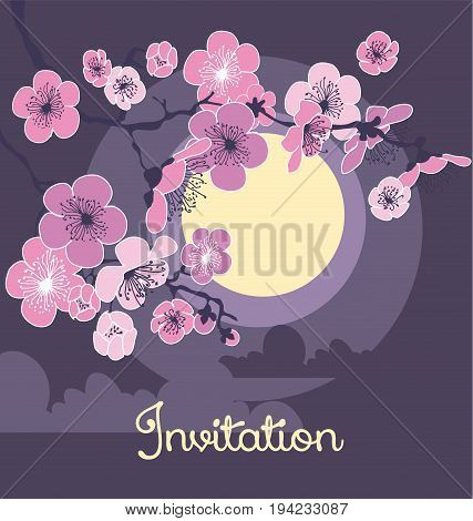 cherry blossom and moon in the night on dark gray background. vector illustration