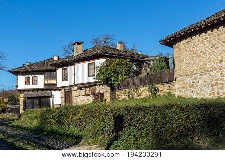 BOZHENTSI, BULGARIA - OCTOBER 29 2016:  Old Houses in village of Bozhentsi, Gabrovo region, Bulgaria