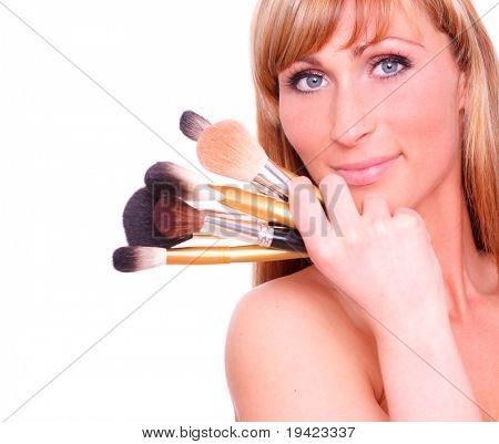Wonderful pretty beautiful female cares her face skin