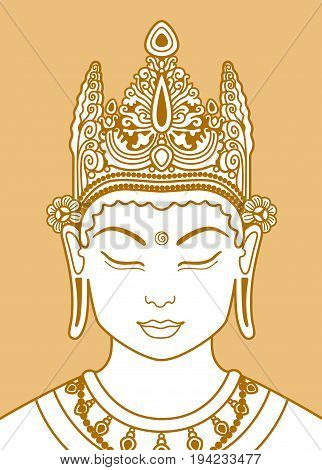 Head of a buddha in a crown on a beige background