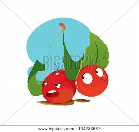 Digital vector funny cartoon anger and happy red cherry sisters with green leaves, happy and mad, abstract flat style