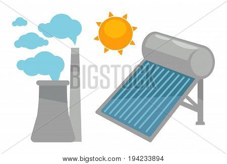Alternative eco energy devices isolated on white. Solar panel under sun and factory symbols vector colorful illustration in graphic design. Modern green and clean equipments that give energy