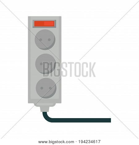 Empty socket with red button and space for three plugs isolated on white. Vector colorful illustration in graphic design of device in grey color with dark wire using electricity for working.