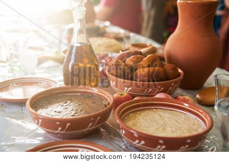 table with traditional old slavonic food