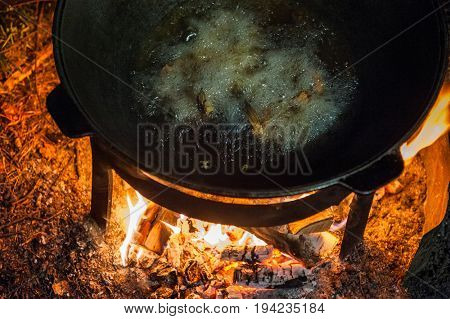 Camping fire and kettle with frying fish