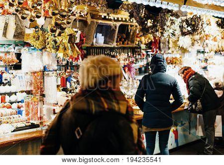 Customers Admiring Christmas Decorations France  Christmas Market