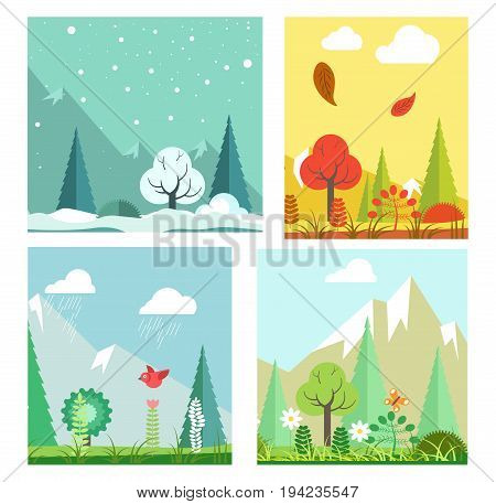 Four seasons nature landscape winter, summer, autumn and spring weather. Vector flat scenery of mountains in snow, blooming flowers and trees, fall leaves in rain and wind