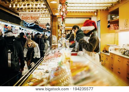 Traditional Christmas Market Food Market Stall Kiosk