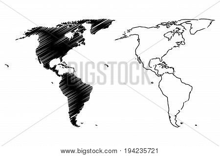 Map of America vector illustration , scribble sketch America