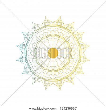 blue and yellow color gradient brilliant flower mandala vintage decorative ornament vector illustration