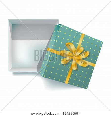 Gift box with ribbon and decoration golden bow for Christmas or birthday gifts. Vector 3d realistic modern square cardboard paper package in wrapper