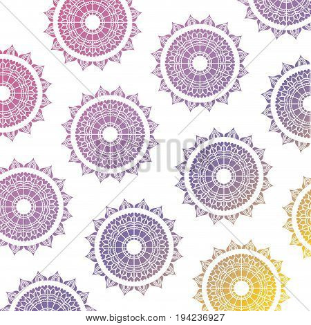pattern red yellow and blue gradient brilliant flowers mandala vintage decorative ornament vector illustration