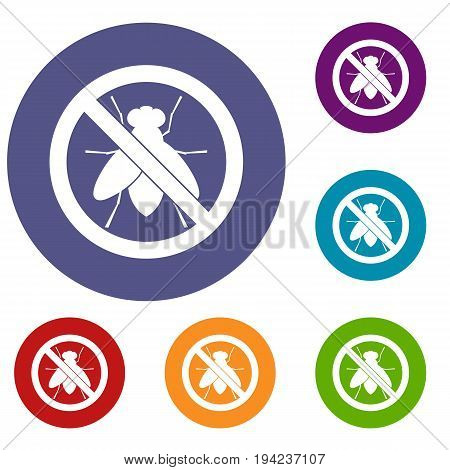 No fly sign icons set in flat circle reb, blue and green color for web