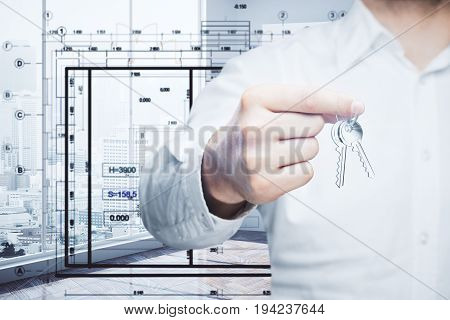 Man handing keys in bright interior with city view and drawings. Rent concept. 3D Rendering