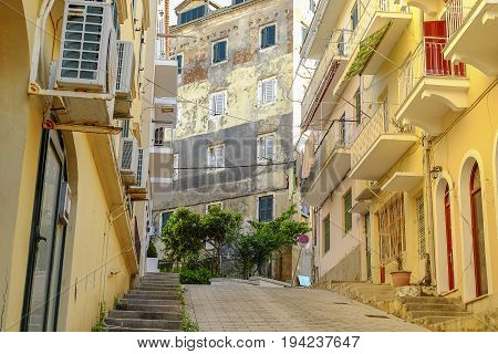 View on a typical street in Kerkira the capital of the Island Corfu in Greece.