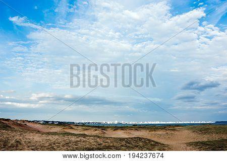 Panoramic view of endless beaches and Punta del Este Uruguay atlantic coast