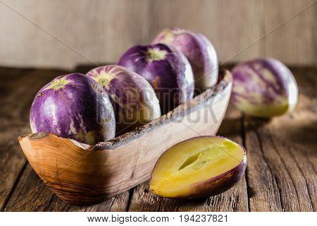 South American Fruit Sweet Cucumber. Pepino Dulce Or Pepino Melon