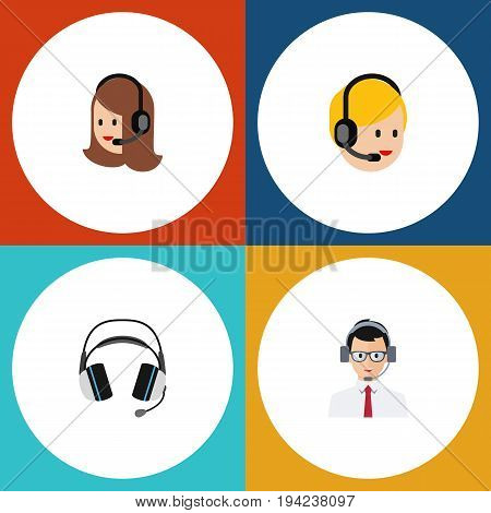 Flat Icon Center Set Of Help, Call Center, Service And Other Vector Objects. Also Includes Operator, Service, Headset Elements.