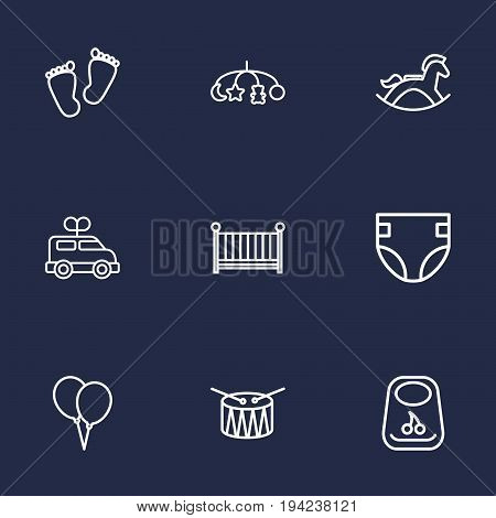 Set Of 9 Kid Outline Icons Set.Collection Of Drum, Crib, Rocking Horse And Other Elements.