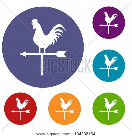 Weather vane with cock icons set in flat circle reb, blue and green color for web