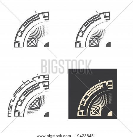 Illustration consisting of four images in the form of a stone cut