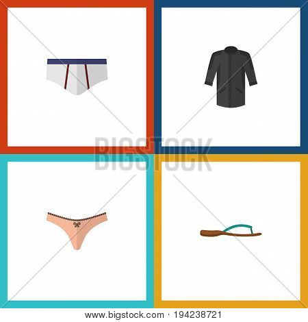 Flat Icon Clothes Set Of Beach Sandal, Uniform, Underclothes Vector Objects. Also Includes Uniform, Underwear, Panties Elements.