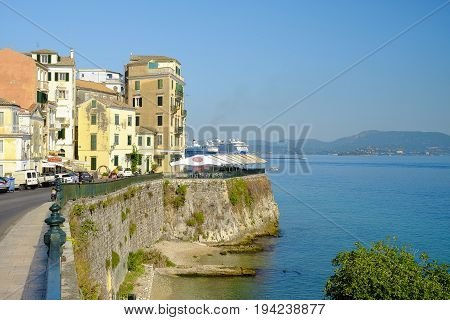 CORFU GREECE - JULY 05 2017: Street in the old town of Corfu closed to the old port.