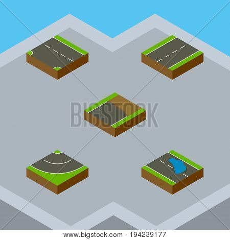Isometric Road Set Of Plash, Downward, Driveway And Other Vector Objects. Also Includes Bitumen, Road, Single Elements.