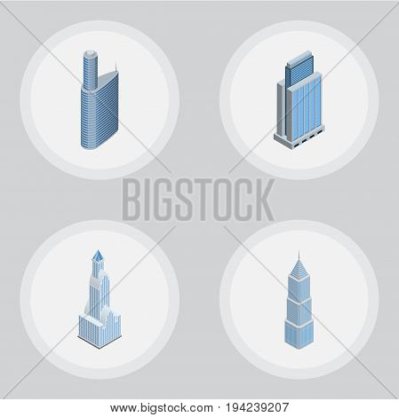 Isometric Building Set Of Cityscape, Urban, Building And Other Vector Objects. Also Includes Skyscraper, Apartment, Urban Elements.