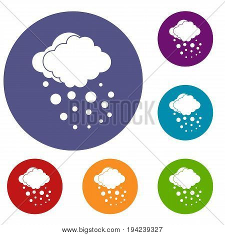 Cloud with hail icons set in flat circle reb, blue and green color for web