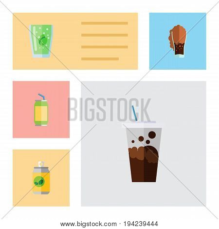 Flat Icon Soda Set Of Carbonated, Soda, Cup And Other Vector Objects. Also Includes Cup, Drink, Fizzy Elements.