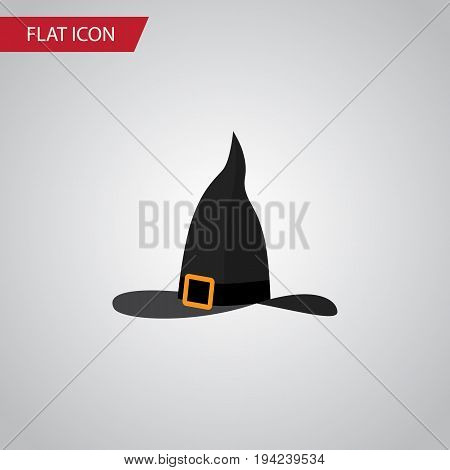 Isolated Wizard Hat Flat Icon. Witch Cap Vector Element Can Be Used For Wizard, Witch, Hat Design Concept.