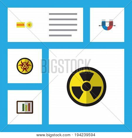 Flat Icon Study Set Of Diagram, Attractive Force, Irradiation And Other Vector Objects. Also Includes Radiation, Force, Chart Elements.