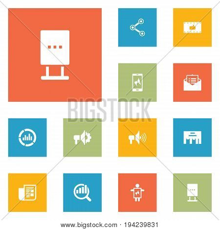 Set Of 12 Advertising Icons Set.Collection Of Like, Journal, Share And Other Elements.