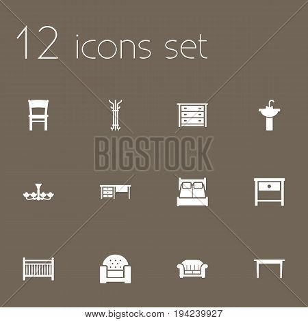 Set Of 12 Situation Icons Set.Collection Of Worktop, Luster, Commode And Other Elements.