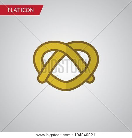 Isolated Pretzel Flat Icon. Cookie Vector Element Can Be Used For Pretzel, Cookie, Biscuit Design Concept.