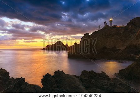 Sunset on the coast of the natural park of Cabo de Gata near Almeria Spain