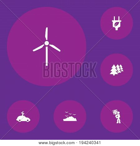 Set Of 6 Ecology Icons Set.Collection Of Fan, Rubbish, Reforestation And Other Elements.