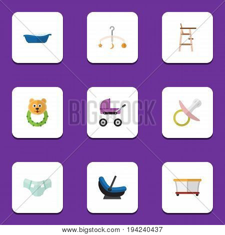 Flat Icon Baby Set Of Nipple, Pram, Rattle And Other Vector Objects. Also Includes Bathing, Cradle, Children Elements.