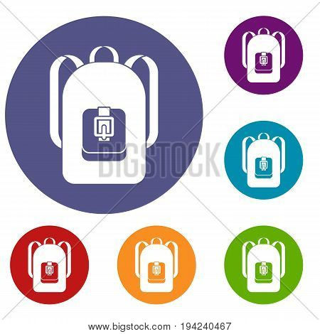 Backpack icons set in flat circle reb, blue and green color for web