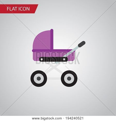 Isolated Pram Flat Icon. Stroller Vector Element Can Be Used For Stroller, Baby, Pram Design Concept.