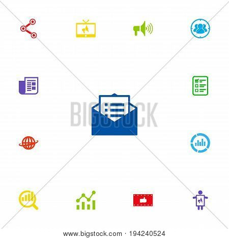 Set Of 13 Commercial Icons Set.Collection Of World, Statistics, Man With Banner And Other Elements.