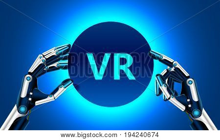 Virtual and augmented reality in the first person. Human hand in virtual reality like a robot. Technological concept. Banner for your logo or text.