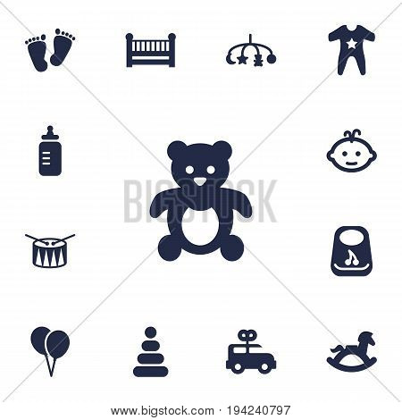 Set Of 13 Child Icons Set.Collection Of Bear, Breastplate, Hangings And Other Elements.