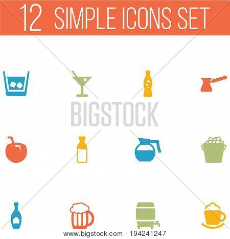 Set Of 12 Beverages Icons Set.Collection Of Fridge, Martini, Cream And Other Elements.