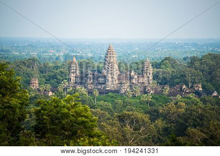 Angkor wat is a temple complex in Cambodia and the largest religious monument in the world. Located in Siem Reap of Cambodia.